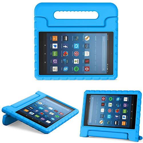 w Amazon Fire HD 8 Tablet (6th/7th/8th Generation, 2016/2017/2018 Release) Kids Shock Proof Convertible Handle Light Weight Protective Stand Cover Case for Fire HD 8,Blue ()