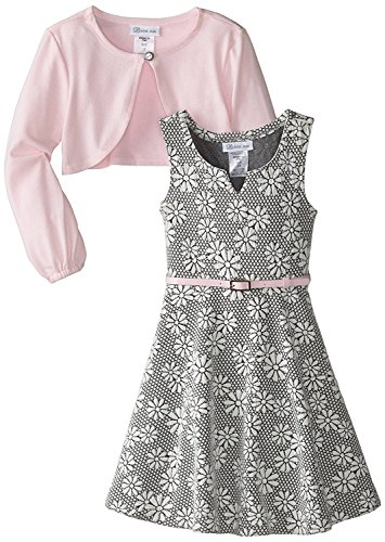 Bonnie Jean Girls' Special Occasion Cardigan Dress Set (7, Pink) ()