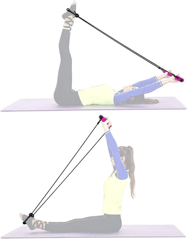 Festnight Barra portátil de musculación con 8 bandas de resistencia moldeadas de 2,8 m, comba ajustable, para entrenamiento en casa, gimnasio, ...