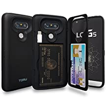 LG G5 Case, TORU [Slim Hard Wallet Case Black] Dual Layer Hidden Credit Card Holder ID Slot Card Case with Mirror and USB Adapter for LG G5 (2016) - Matte Black