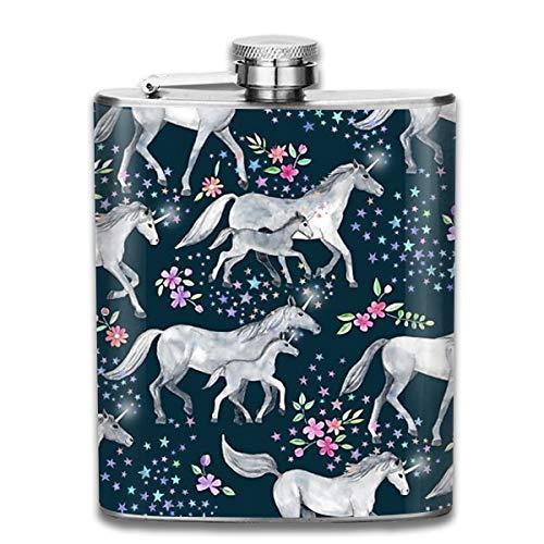 Laki-co Unicorn Pattern Hip Flask for Liquor Stainless Steel Bottle Alcohol -