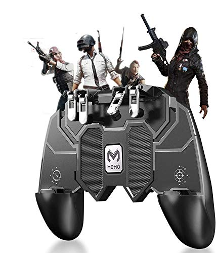 M7 Mobile Game Controller [Six-Finger] [Upgrade] Game Controller L1R1 L2R2 Triggers, PUBG Mobile with Gaming Trigger, Shoot Sensitive Controller Aim & Fire Trigger Compatible with iPhone/Android