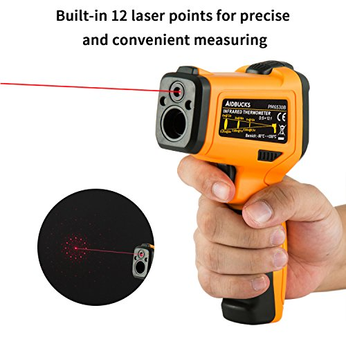 Infrared Thermometer AIDBUCKS PM6530B Digital Laser Non Contact Cooking IR Temperature Gun -58°F to 1022°F with Color Display 12 Points Aperture for Kitchen Food Meat BBQ Automotive and Industrial by AIDBUCKS (Image #3)