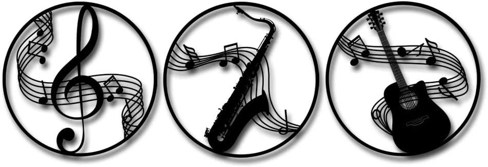 Kreative Arts Round Music Metal Wall Art Set of 3 Home Decor Matte Black Color Use Indoor Or Outdoor Music Notes Guitar and Saxophone Round Hanging Sculpture Artwork Industrial Garden 20x20inchx3pcs