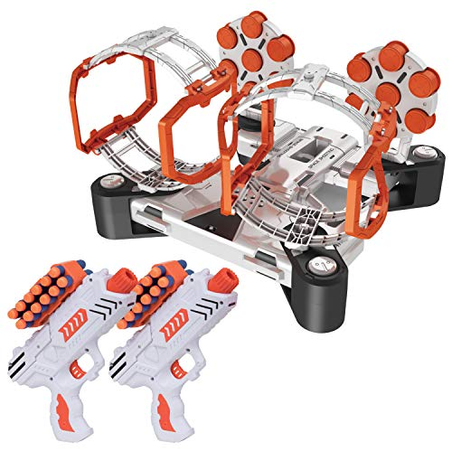 (USA Toyz Compatible Nerf Targets for Shooting - AstroShot Gyro Nerf Target Game, 2 Blaster Toy Guns for Boys or Girls and 24 Foam Dart Nerf Accessories)