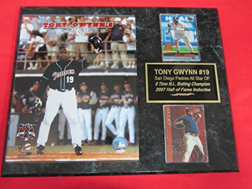 Padres Tony Gwynn 2 Card Collector Plaque #6 w/8x10 Photo Last Career - Clubhouse Padres
