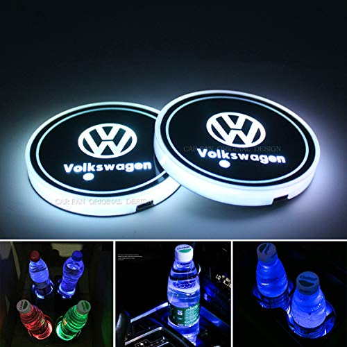 License plate frameX 2pcs LED Car Cup Holder Lights for Volkswagen VW, 7 Colors Changing USB Charging Mat Luminescent Cup Pad, LED Interior Atmosphere Lamp(VW)