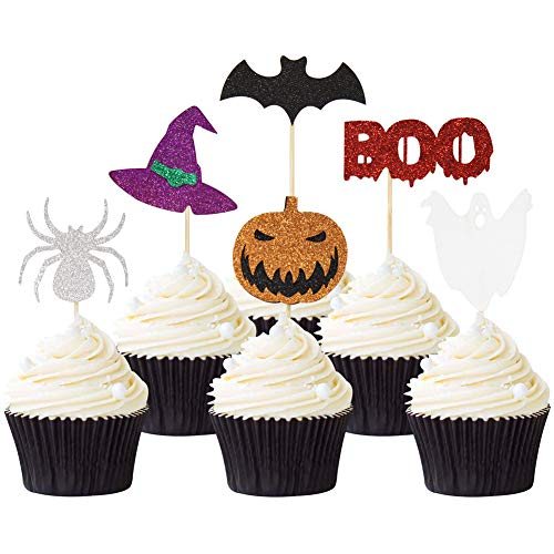 Halloween Cupcake Toppers-36 Pieces-Cake Topper Set for Halloween Party Supplies NO DIY Required