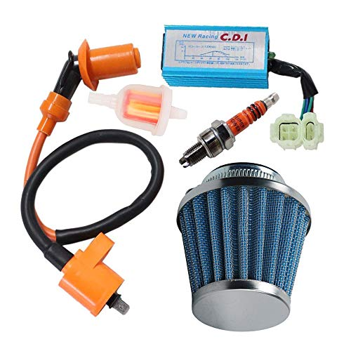(Racing Ignition Coil 6 Pins Cdi Spark Plug Kit, 39mm Air Filter, Fuel filter for 50cc 125cc 150cc Gy6 Moped Scooter Go Kart)