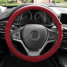 FH Group FH3003BURGUNDY Burgundy Steering Wheel Cover (Silicone W. Grip & Pattern Massaging Grip Burgundy Color-Fit Most Car Truck SUV Or Van)