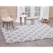 """A2Z RUG Cozy Super Trellis Shaggy Rugs Silver & Snow White 80x150 cm -2'6""""x4'9"""" ft Contemporary Living Dinning Room & Bedroom Soft Area Rug"""