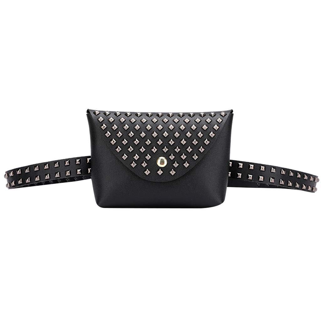 Fashion Women Outdoor Rivets Hasp Solid Color Messenger Bag Chest Bag Waist Bag