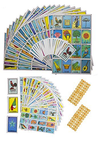 Naipes Gacela 2 Loteria Mexicana Sets (Different Sizes), 1 Jumbo Set (20 Boards, Cards and 80 Markers) & 1 Portable Set (20 Boards and Cards). Fun for The Whole Family (Loteria Mexican Bingo)