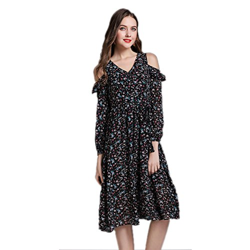 V Printed cotyledon Dresses Women`s Neck Chiffon Off Black Lace Shoulder Long Dress Sleeve ZZw41Y