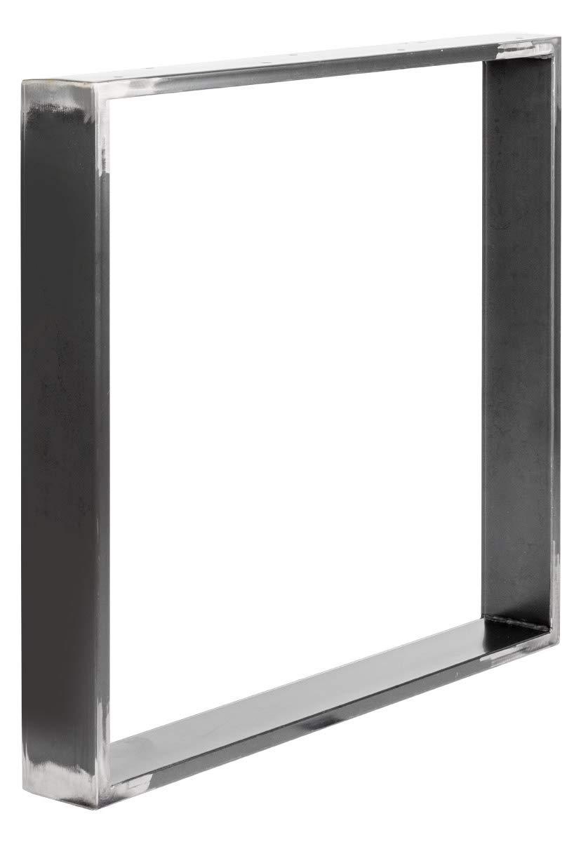 Cadre 80x72 cm HLT-01-A-FF-9005 HOLZBRINK 1x Pied de Table en Profil/és dAcier 100x20 mm Noir Fonc/é