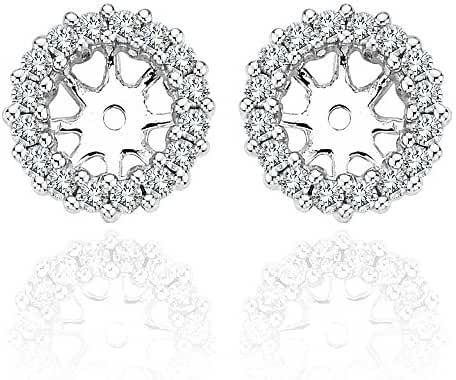 0.52 Carat White Diamond Halo Solitaire Stud Earrings Jackets 14K Gold For 5.5 MM(1.5 Carat Earrings)