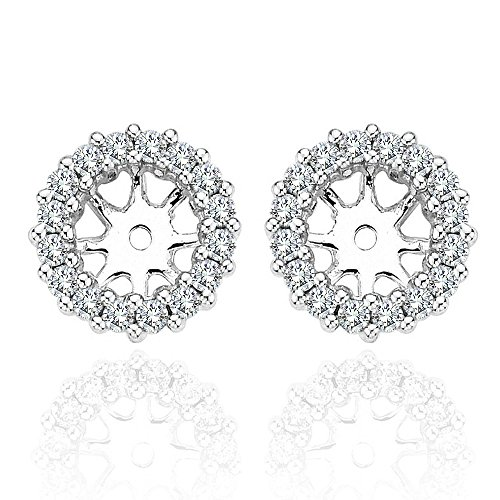 1.00 Carat G-H Diamond Halo Solitaire Stud Earrings Jackets 14K White Gold For 5.5 MM(1.5 Carat Earrings) by Jascina