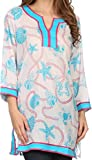 Sakkas 164024 - Fawn Tunic Blouse Top With Printed Pattern And Multi Toned Trims - Turq / Pink - 1X