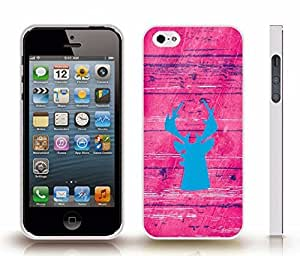 iStar Cases? iPhone 5/5S Case with Blue Moosehead Silhouette on a Pink Saturated Wooden Background , Snap-on Cover, Hard Carrying Case (White)