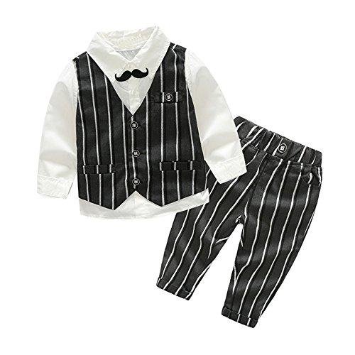 2-6T Toddler Baby Boys Gentleman 3Pcs Bowtie Shirt + Vest + Striped Pants Formal Clothing Suit Set ()