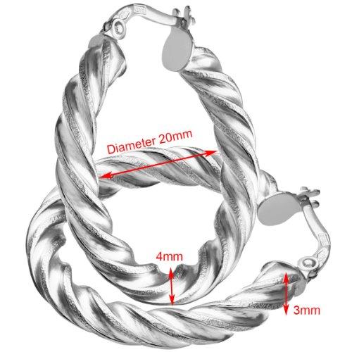 Revoni Bague en or blanc 9carats-Coupe Diamant 20mm-Boucles d'Oreilles Créoles Femme-0,3cm Tube