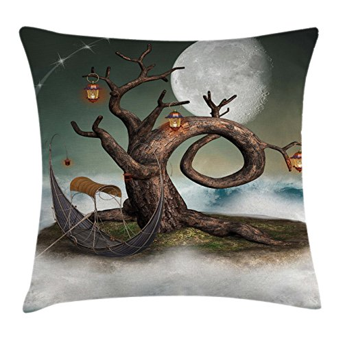 Fantasy Throw Pillow Cushion Cover by Ambesonne, Surreal Leafless Tree with Lanterns and Full Moon on Magic Cloud Hill, Decorative Square Accent Pillow Case, 16 X 16 Inches, Reseda Green Umber Pearl