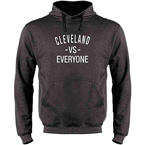 Pop Threads Cleveland vs Everyone Ohio Sports Fan Heather Charcoal Gray XL Mens Fleece Hoodie Sweatshirt