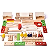 43 PCs Kids Tool Box Wooden Toys Set, Kids Tool Kits, Boy Gift Learning Toy Construction Set Pretend Playset Gift for Kids