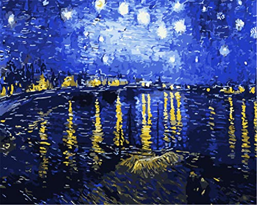 EOBROMD 3D Oil Painting, Hand Abstract Original Painting on Canvas Modern Artwork with Brushes Acrylic Pigments for Home Decoration, Rhone River Under The Stars 16x20inch -