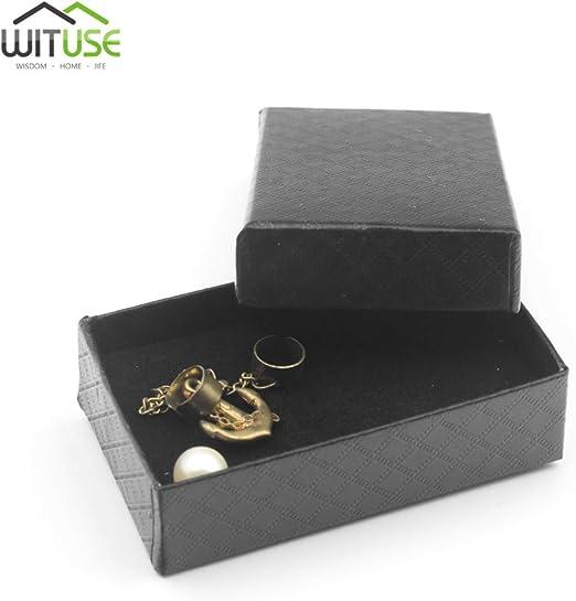 Caja de regalo cuadrada negra para pulsera, collar, joyería, caja ...