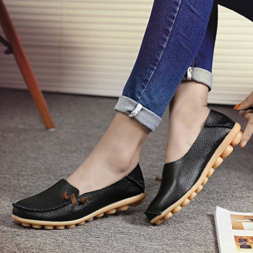 fereshte Fashion for Soft Driving Casual Shoes Leather on Loafers Slip Flat Black Shopping Genuine soled Womens rfqw7r