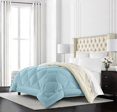 Beckham Hotel Collection Goose Down Alternative Reversible Comforter - All Season - Premium Quality Luxury Hypoallergenic Comforter - Full/Queen - Sky Blue/Ivory