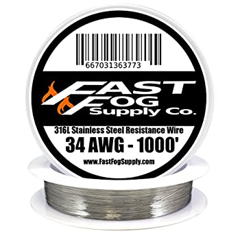 Fast Fog 1000 ft - 34 Gauge AWG Stainless Steel 316L Wire 1000' Length