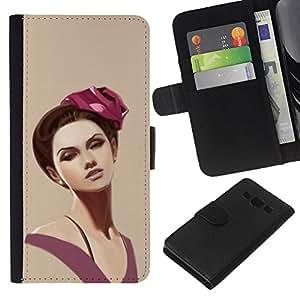 KLONGSHOP // Tirón de la caja Cartera de cuero con ranuras para tarjetas - Retrato de la mujer Pintura hombros púrpuras rosadas - Samsung Galaxy A3 //