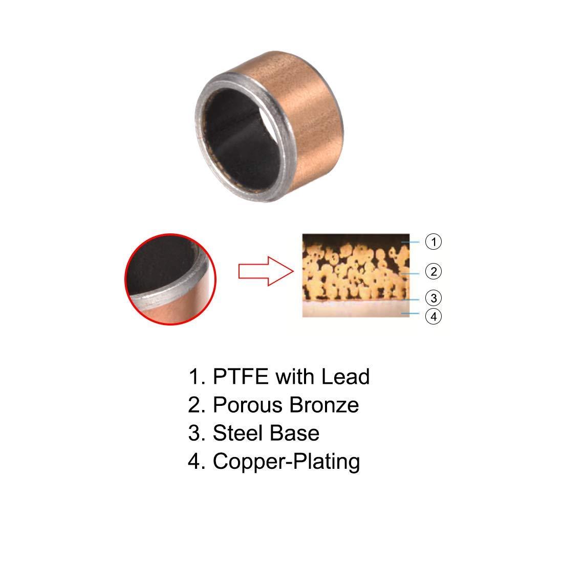 Sleeve Bearing 6mm Diameter x 8mm Outside Diameter x 5mm Length Plain Bearings Oil-Free bushings Pack of 3