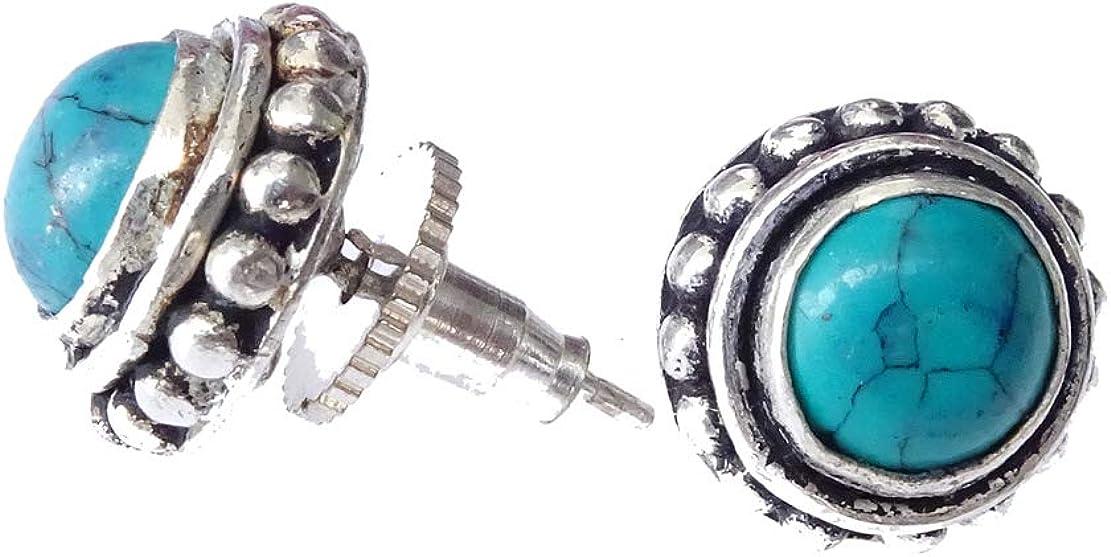 Pendientes de botón de oreja hechos a mano auténticos de turquesa Pendientes de filigrana plateados de moda para mujer Pendientes de botón Pendientes étnicos de Boho de Artisan