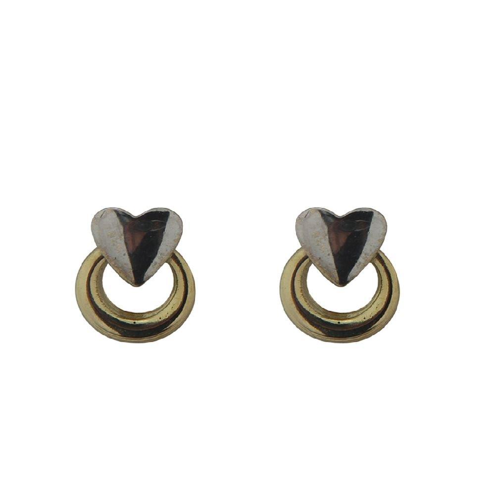18 Kt TT circle & heart screwback earrings (7 x 5 mm, 0.28 x 0.20 inches)