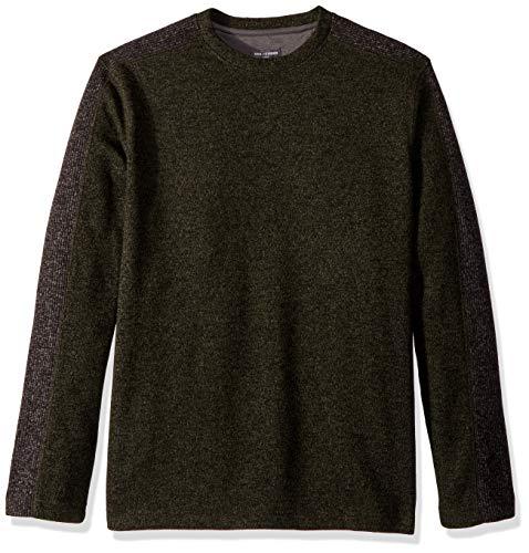 - Van Heusen Men's Slim Fit Never Tuck Colorblock Crewneck Pullover Sweater, Olive Thyme, Large