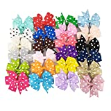 yueton Pack of 24 Polka Dot Grosgrain Ribbon Colorful Pinwheel Hair Bow Clips Bowknot Hair Accessories for For Baby Girls Kids Teens and Young Women
