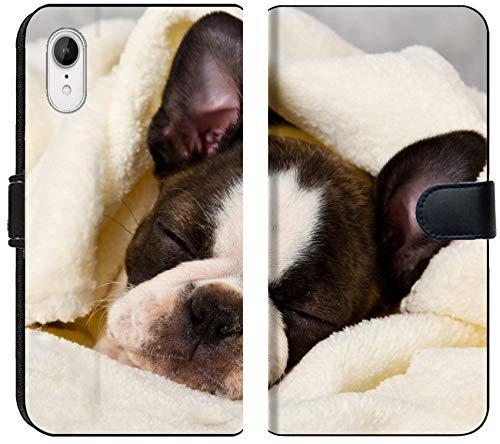 (Liili Premium iPhone XR Flip Micro Fabric Wallet Case Boston Terrier Sleeping in White Towels Studio Shoot Photo 20130004)