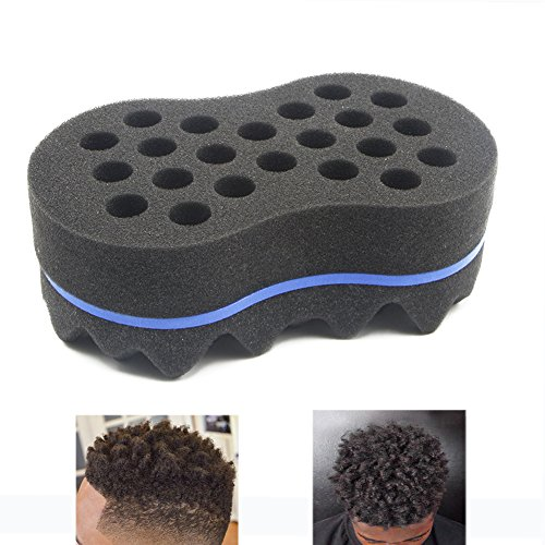 (RioRand Magic Twist Hair Sponge,Barber Wave Tornado Big Comb Two-Side,Large Brush For Afro Natural Hair(2PCS Blue))