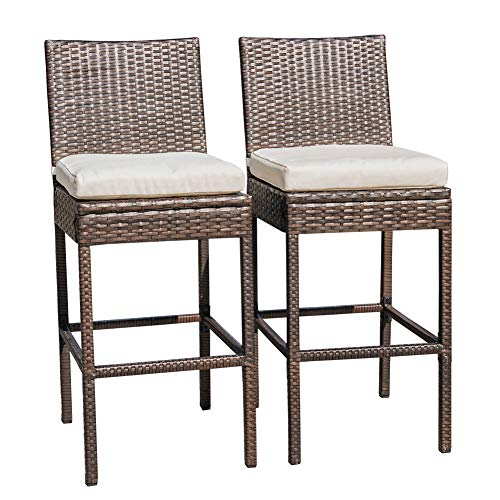 Sundale Outdoor 2 Pcs All Weather Patio Furniture Brown Wicker Barstool with Cushions, Beige -
