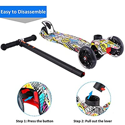 Scooters for Kids, Kick Scooter with Adjustable Height | Extra-Wide Deck | PU Flashing 3-Wheels, Cool Scooter for Kid from 2 to 14 Year-Old (Re Street Dance Doodle) : Sports & Outdoors