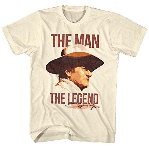 John Wayne - Mens Man/Legend T-Shirt, Size: Small, Color: Natural (John Wayne Size)