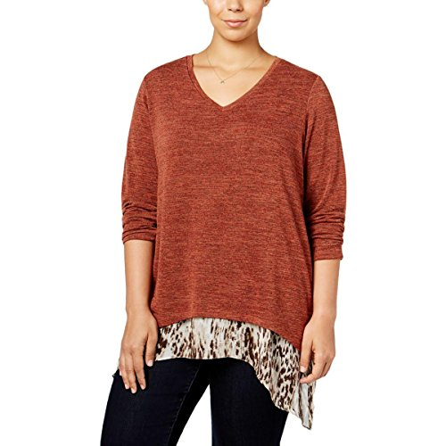 Style & Co. Womens Plus Layered Heathered Blouse Orange 0X by Style & Co.