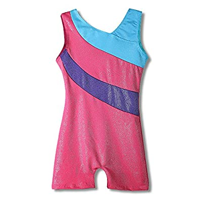 One-piece Girls Gymnastic Leotards Sparkle Ribbon Sleeveless Dance Leotards for Kid Girls Training Biketard Dancewear Practice Costume