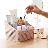 AJB Dw Desk Storage Box Toothbrush Remote Card Plastic Storage Box Holder Multi Use Home & Office Desk Organizer Round Basket 1pc Color as per Availability