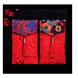 Lilith li 2PC Chinese Element Festive Silk Red Envelopes Premium Gift Envelope Designs Money Holder for Christmas Easter Birthday Wedding Invitation Envelopes (type-2)