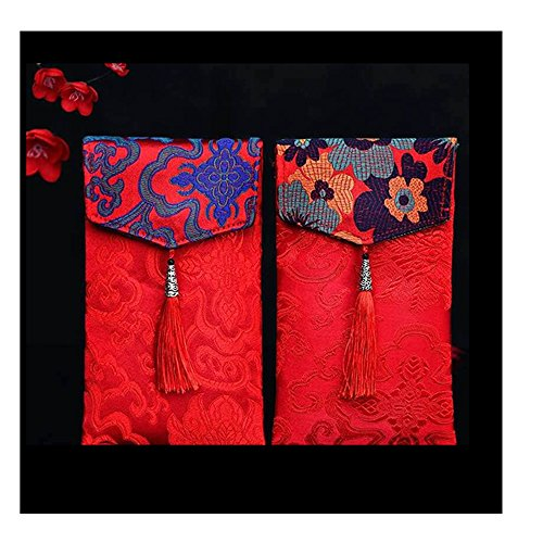 Easter Elements (Lilith li 2PC Chinese Element Festive Silk Red Envelopes Premium Gift Envelope Designs Money Holder for Christmas Easter Birthday Wedding Invitation Envelopes (type-2))