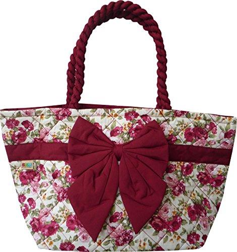Ariyas Thaishop, Damenhandtasche aus Baumwolle mit Schleife und Blumenmuster 40 x 25 x 18 cm (BxHxT)